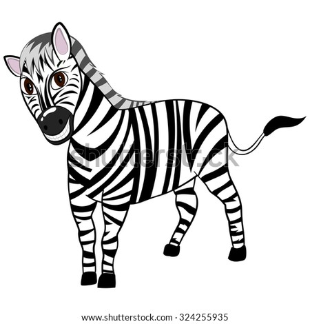 Funny Cartoon Character Zebra With Wide Smile Over White Background.  Hand Drawn in Perspective Elegant Cute Design. Tropical and Zoo  Fauna.