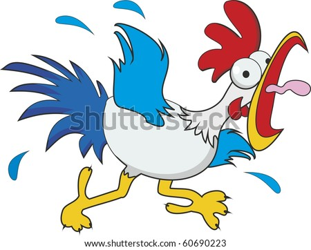 funny cartoon chicken isolated on white background - stock photo