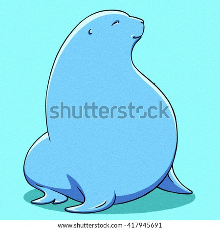 funny cartoon cute fat Navy seal illustration - stock photo