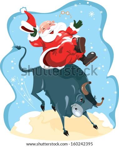 Funny cartoon displayed Santa on rodeo. - stock photo