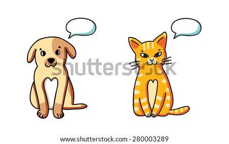 Funny cartoon dog and cat with speach bubbles, isolated on white