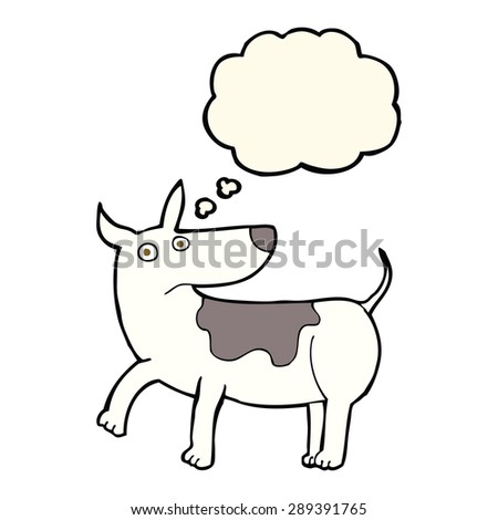 funny cartoon dog with thought bubble - stock photo