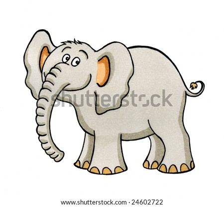Funny cartoon drawing of a happy  elephant - stock photo