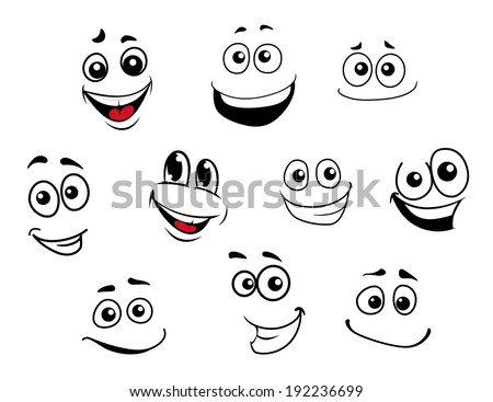 Funny cartoon emotional faces set for comics design. Vector version also available in gallery - stock photo