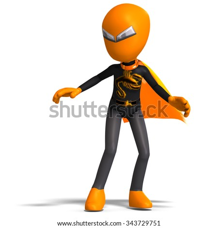 funny cartoon evil creature with cape. 3D rendering with clipping path and shadow over white - stock photo