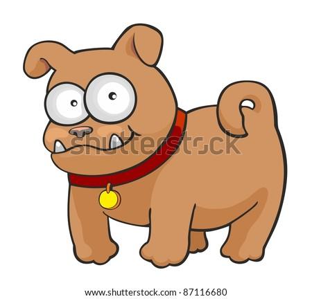 Funny cartoon French bulldog - stock photo