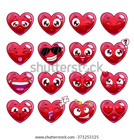 Funny cartoon heart character emotions set, isolated on white - stock photo
