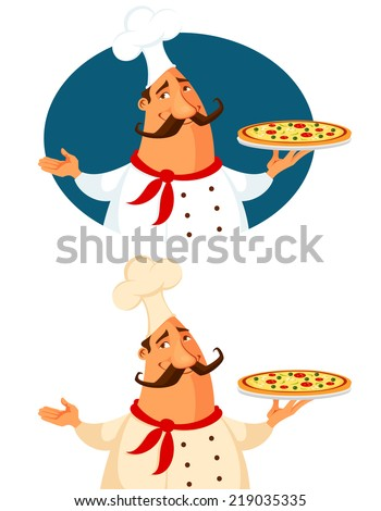 funny cartoon illustration of a pizza chef - stock photo