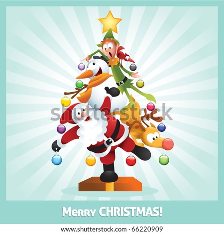 Funny cartoon illustration of santa claus, elf, Reindeer, snowman and red bird posing together as a Christmas tree - raster version. - stock photo