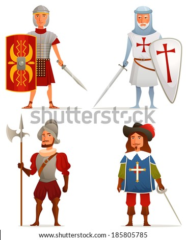 funny cartoon illustrations from ancient and medieval age - a Roman soldier, German crusader, Spanish conquistador and French musketeer - stock photo