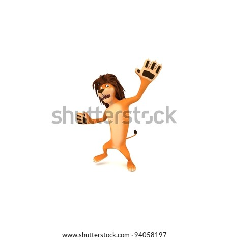 Funny cartoon lion with rastafarian hair in a shocked and surprised posture. - stock photo