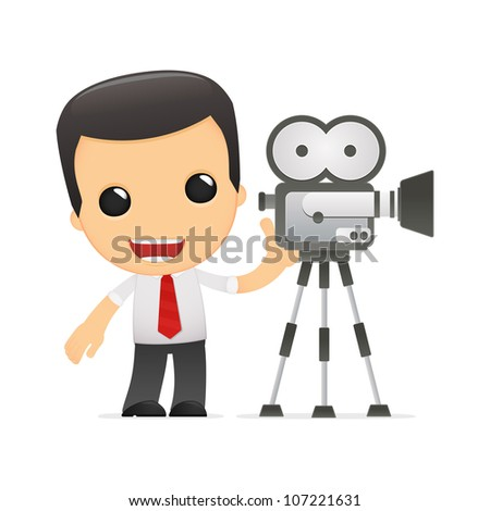 funny cartoon manager in various poses for use in advertising, presentations, brochures, blogs, documents and forms, etc. - stock photo