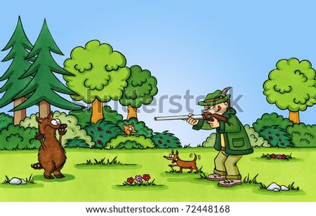 Funny cartoon of a hunter aiming at a wild boar. This artwork was created manually with ink and markers on illustration board. - stock photo