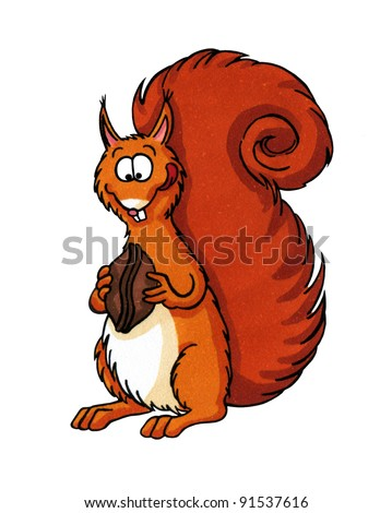 Funny cartoon of a squirrel eating a nut