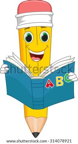 funny cartoon pencil reading a book - stock photo