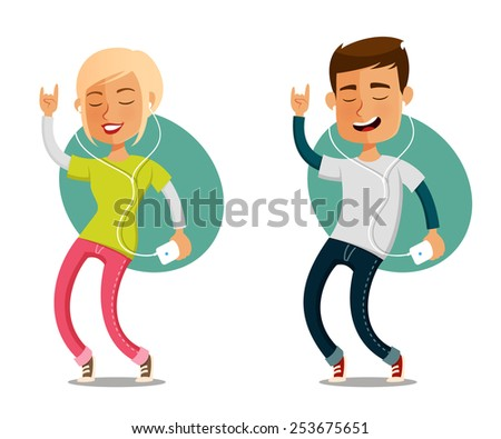 funny cartoon people dancing to the music from their cell phone - stock photo