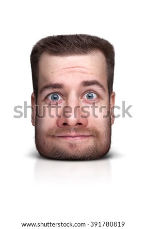 Funny cartoon portrait from man's face isolated on white - stock photo