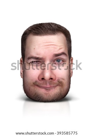 Funny cartoon portrait from man's face isolated on white