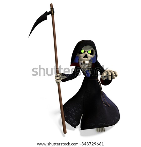 funny cartoon reaper. 3D rendering with clipping path and shadow over white - stock photo