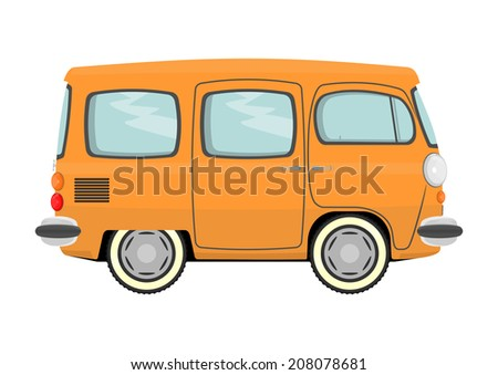 Funny cartoon retro van or small bus. Raster