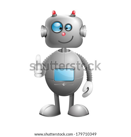 Funny cartoon robot thumbs up isolated on white background. Rasterized copy.
