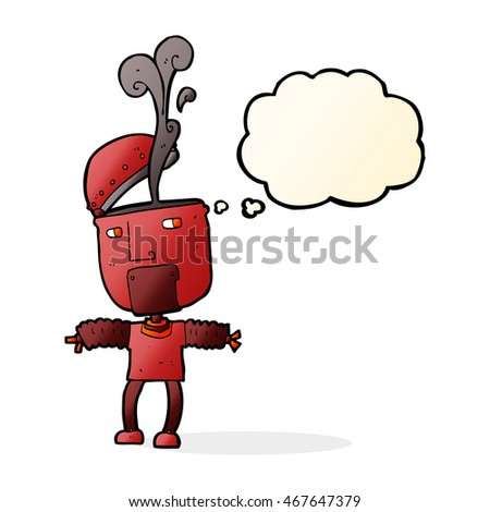 funny cartoon robot with open head with thought bubble