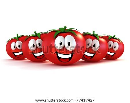 funny cartoon tomatoes - stock photo