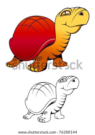 Funny cartoon turtle for mascot or tattoo isolated on white. Vector version also available in gallery - stock photo