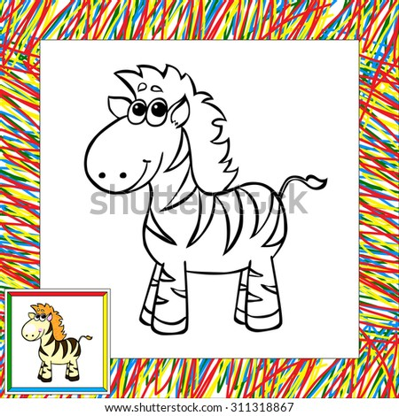 Funny Cartoon Zebra Coloring Book Illustration Stock Illustration ...