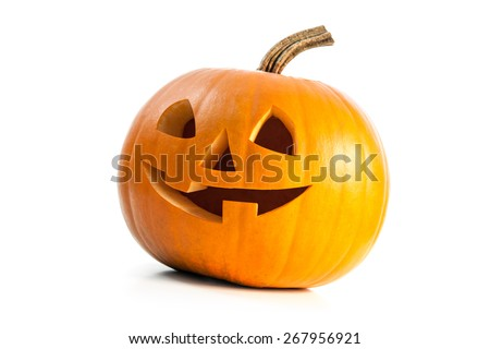 Funny carved Halloween pumpkin isolated on white background - stock photo