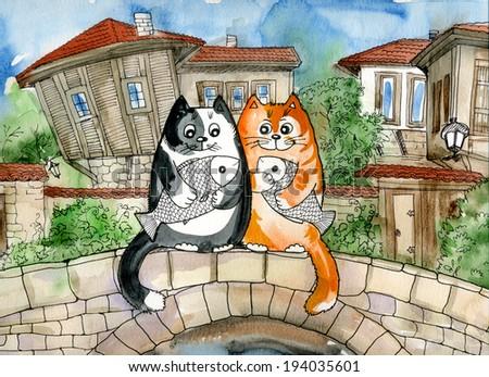 funny cat,Kitty,pet,animal,  - stock photo