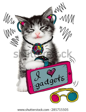 Funny cat loves his gadgets on a white background - stock photo