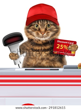 Funny cat working as a cashier in a supermarket.  - stock photo