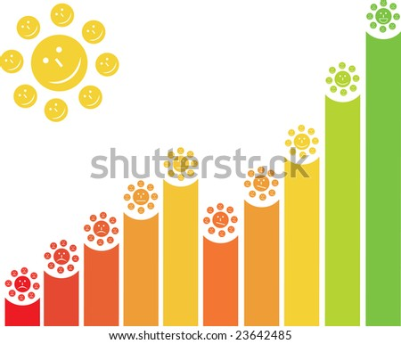 Funny chart with colored smiles and sun - stock photo