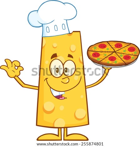 Funny Cheese Cartoon Character Holding A Pizza. Raster Illustration Isolated On White - stock photo