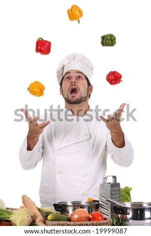 funny chef juggling with peppers in colors