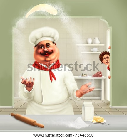funny chef making pizza - stock photo