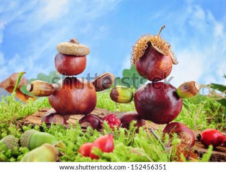 funny chestnut figures - stock photo