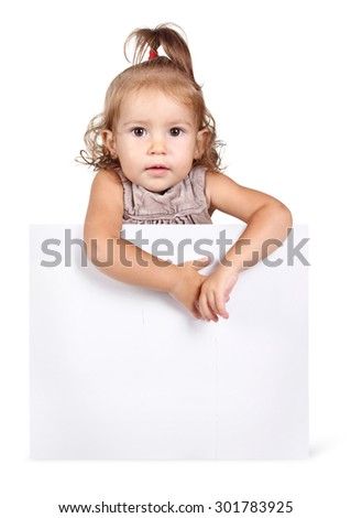Funny child girl hold banner on white background - stock photo