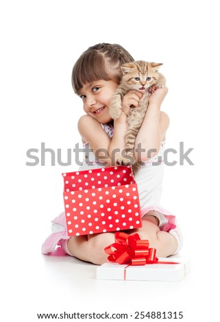 funny child girl holding gift box with kitten isolated - stock photo