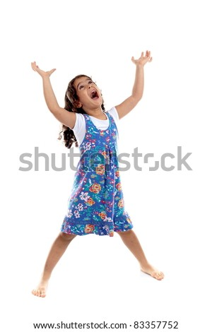Funny child girl screaming and looking up - stock photo