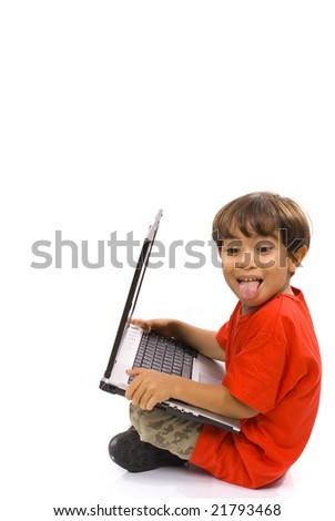 Funny Child holding a laptop on white background