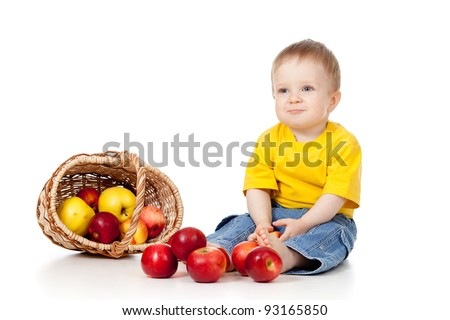 funny child playing with color toy pyramid - stock photo