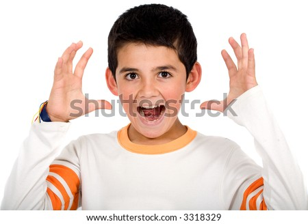 Funny child portrait – boy stressed out isolated over a white background - stock photo