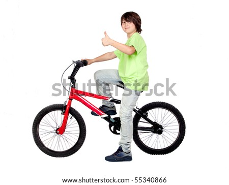 Funny child practicing bike isolated on white background - stock photo