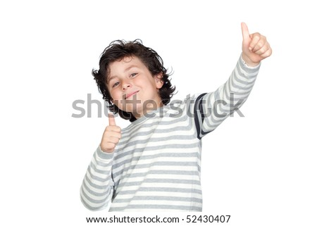 Funny child saying OK isolated on white background - stock photo