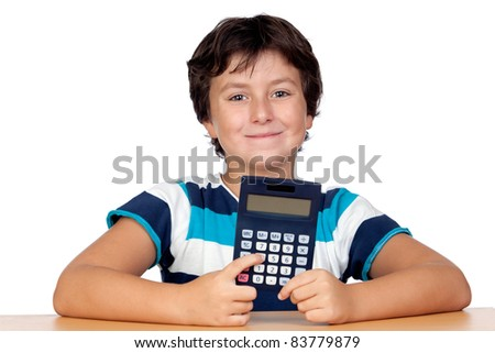 Funny child with a calculator isolated on white background - stock photo