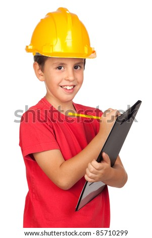 Funny child with a yellow helmet isolated on a over white background - stock photo