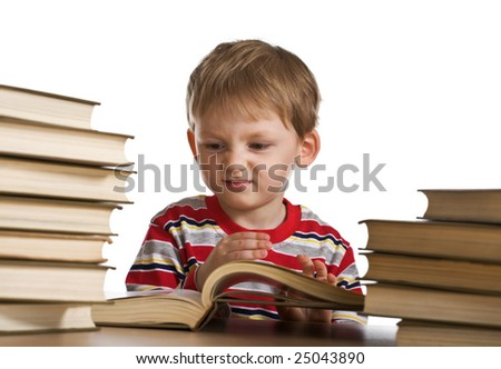 Funny child with books
