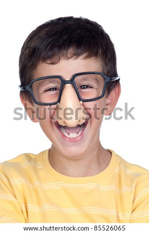 Funny child with glasses and nose joke isolated on white background